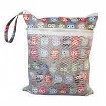 Wet Dry Bags for Cloth Diapers (Owls Print)
